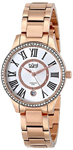Burgi Women's BUR090RG Diamond Dial Rose-tone Stainless Steel Bracelet Watch