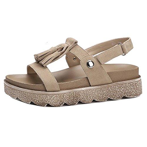 COOLCEPT Mujer Moda Cordones Sandalias Punta Abierta Plano Zapatos (41EU,Apricot)