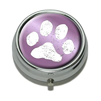 Paw Print Distressed Purple Pill Case Trinket Gift Box