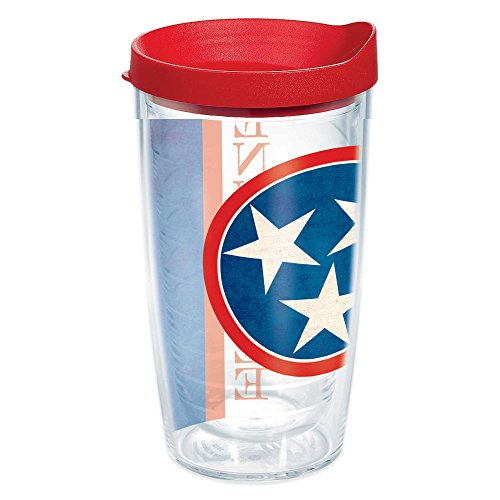 (Tervis 1141731 Tennessee State Flag Colossal Insulated Tumbler with Wrap and Red Lid, 16oz, Clear)