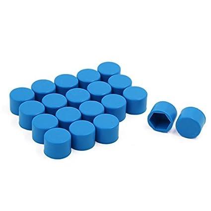 eDealMax 19mm Tornillo Perno 20 piezas Azul Rueda de silicio nuez del coche cubierta de polvo