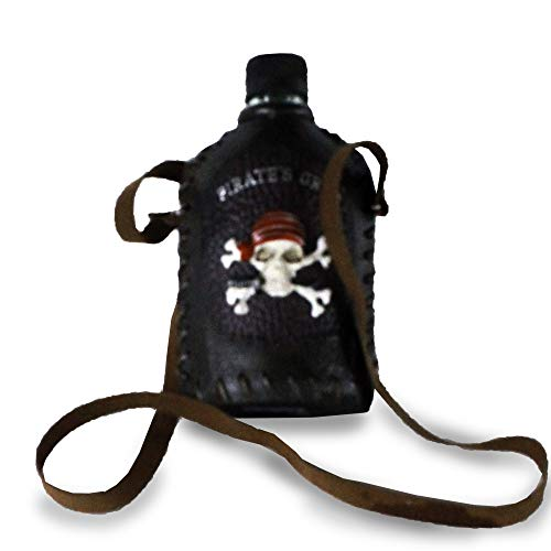 Pirate Skull Grog Glass Caribbean Liquor Flask Licorera De Bolsillo With Poly Leather Cover & Carry Strap For Drinking Whisky Rum Spirits Cocktail Brandy Wiskey Flask Whisky Flask Hip Flasks -