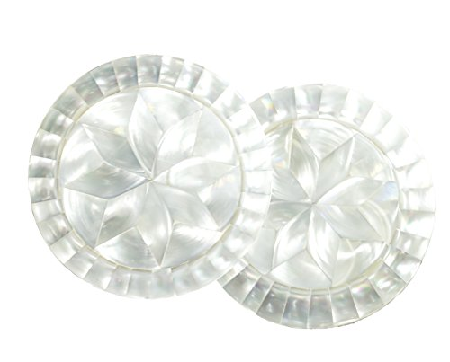 Set of 2 Mother of pearl Coaster (2, White round shape)