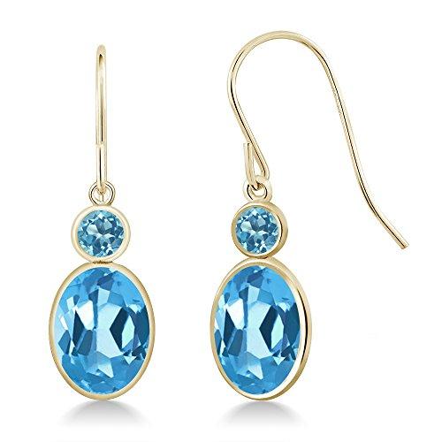 Gem Stone King 3.30 Ct Oval Swiss Blue Topaz 14K Yellow Gold Earrings