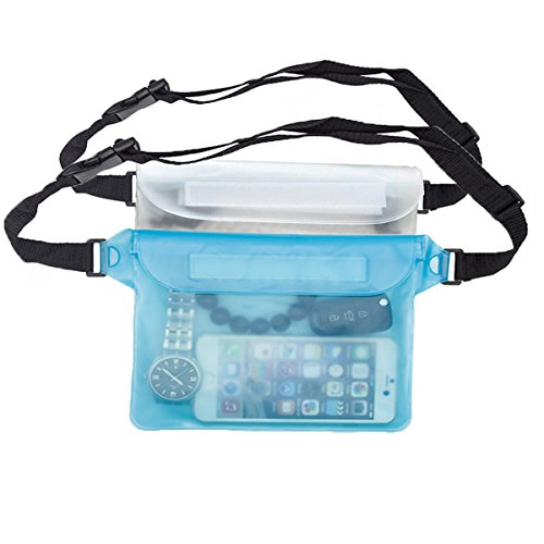 Coideal Waterproof Pouch Dry Bag with Waist/Shoulder Strap Sealing Fanny Pack for Boating,Swimming,Rafting (Blue + White)