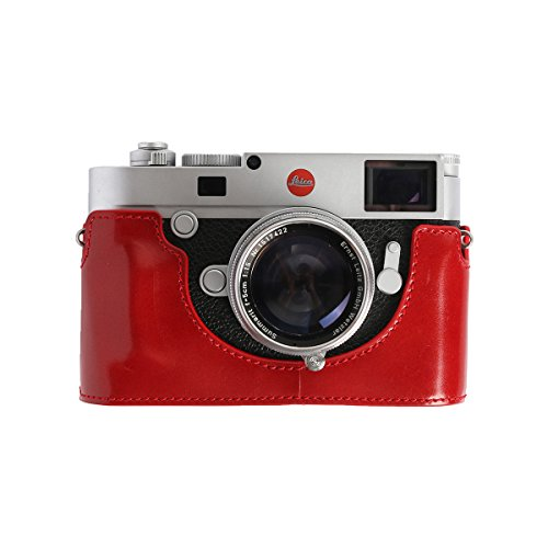 Cam -in Leica M10 Real Leather Aviation Aluminum Camera Half Case Protector (Red)