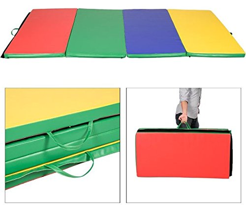 K&A Company Folding Panel Gymnastics Gym Exercise Yoga Mat Fitness 4 Colors Multi Tumbling Thick Pad 4′ x 8′ x 2″