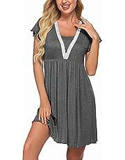 HOTLOOX Women's Short Sleeve Nursing Nightgown Lace Neck Sleepwear Comfy Sleep Shirt Maternity Nightshirt