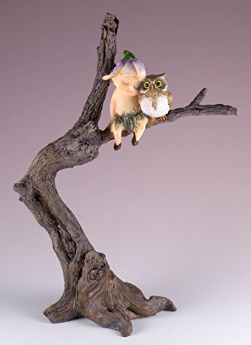 "Fairy Garden Sprite Napping With Owl Resin Figurine 7.75"" High New In Box!"
