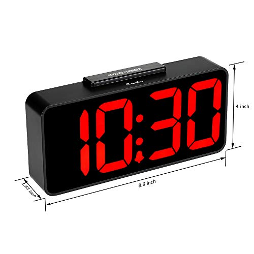 DreamSky Alarm with USB Port for Charging, Dimmer -Extra Impaired Vision Red Bedside Desk Clock, DST.