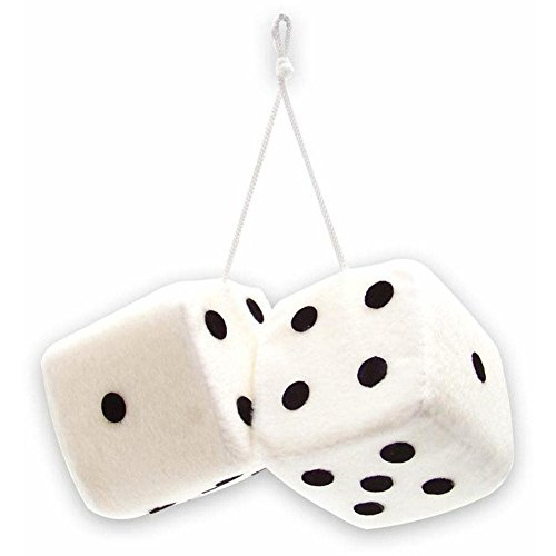"""Cool & Custom {3"""" Inch w/ String} Single Pair of """"Fuzzy, Furry & Fluffy Plush Dice"""" Rear View Mirror Hanging Ornament Decoration w/ Simple Classic Design [Jeep White and Black Color]"""