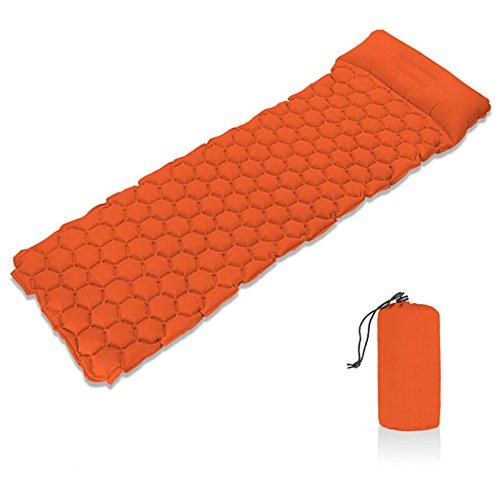 aofjosfhs Ultralight Sleeping Pad with Pillow – 超軽量コンパクトキャンプマットIdeal forバックパッキング、キャンプ、ハイキング、旅行、アウトドア活動 B07FXH4TMP オレンジ  オレンジ