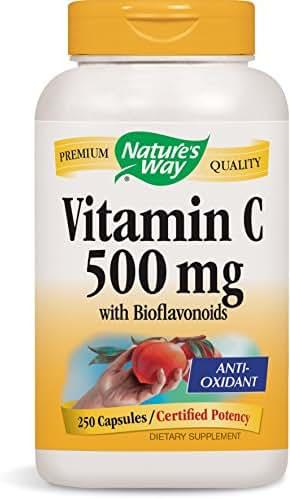 Nature's Way Vitamin C 500 mg with Bioflavonoids; 1000 mg Vitamin C per Serving; 250 Capsules