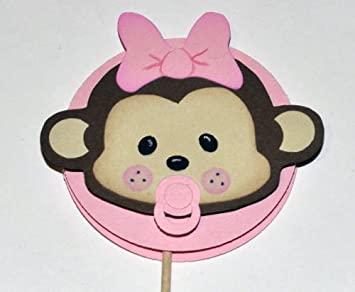Perfect Baby Shower Monkey Cupcake Or Food Topper (Pink (Girl))