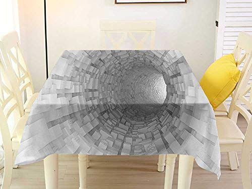 L'sWOW Square Tablecloth of Round Table Outer Space Turning Tunnel Inside Endless Hole Magnetic Field Deep in The Space Digital Artwork Gray Retro 60 x 60 Inch ()