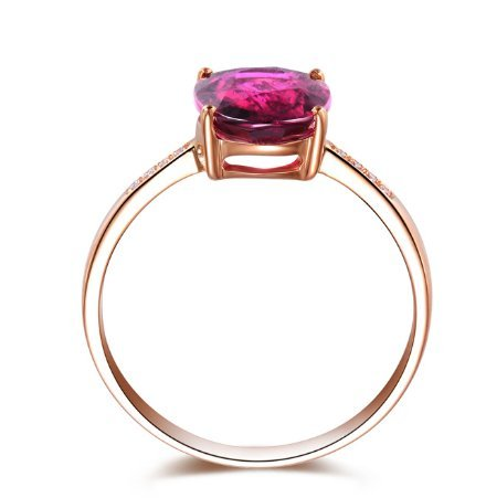 GOWE NEW ARRIVAL REAL 18K ROSE GOLD 1.0 CT REAL DEEP PINKLISH PURPLE TOURMALINE RING 0.02 CT DIAMOND RING 1