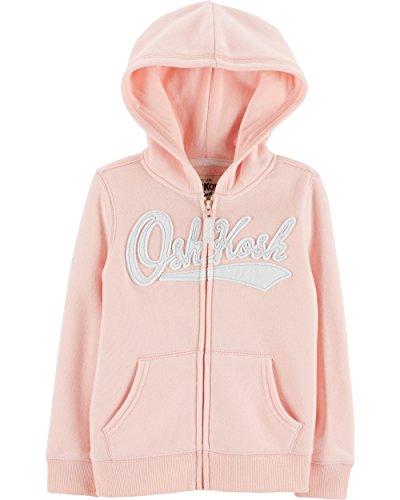 OshKosh B'Gosh Girls' Kids Full Zip Logo Hoodie, Pink Salt, 14