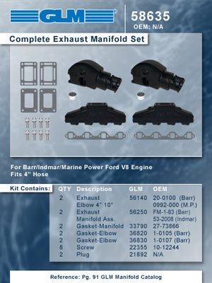 BARR INDAMAR MARINE POWER COMPLETE EXHAUST MANIFOLD SET | GLM Part Number: 58635