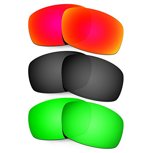 Hkuco Mens Replacement Lenses For Costa Caballito Sunglasses Red/Black/Emerald Green