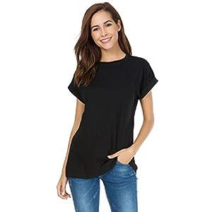 MSHING Women's Simple Crew Neck Plain Loose T-Shirt Summer Casual Tops