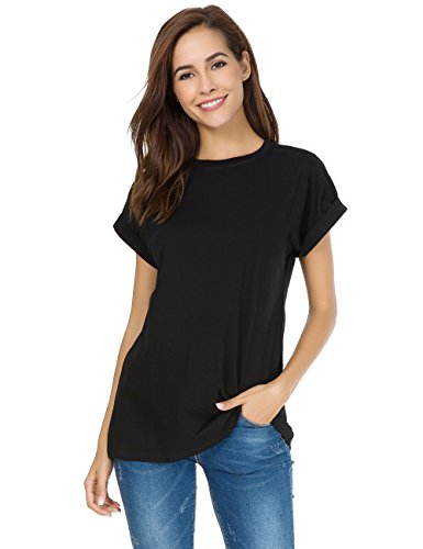 (MSHING Women's Simple Crew Neck Plain Loose T-Shirt Summer Casual Tops)