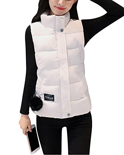 ZongSen Women's Stand-Collar Sports Vest Solid Color Leisure Hooded Parka Warm Coats Outwear White