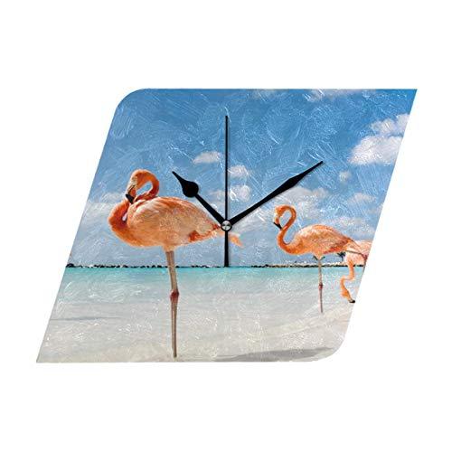 HangWang Wall Clock Flamingo Beach Aruba Pink Silent Non Ticking Decorative Diamond Digital Clocks Home/Office/School Clock (Aruba Pool Round)