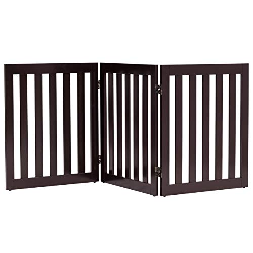 - Giantex 24'' Wooden Dog Gate, Configurable Freestanding Pet Gate for Small to Medium Sized Pets, Step Over Fence, Foldable Panels for House Doorway Stairs Extra Wide Pet Safety Fence (60'' W, Brown)