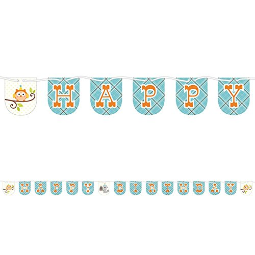 Creative Converting Happi Woodland Boy Shaped Ribbon Banner 7ft Long Party Supplies