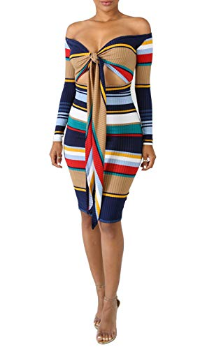 (Ophestin Women Off The Shoulder Multi Wear Tie Front Ribbed Stripe Print Hollow Out Bodycon Midi Pencil Dress Blue S)