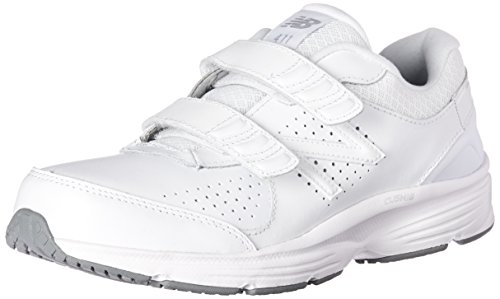 New Balance Women's WW411v2 Hook and Loop Walking Shoe, White, 11 D US