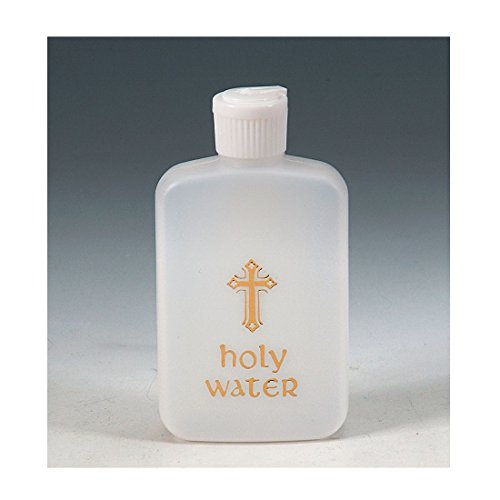 Heritage Water Bottle (Holy Water Bottle with Gold Metallic Cross and Flip Spout)