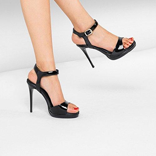 Femmes mince en cuir Fine Blanc Chaussure hauts talon noire taille à verni Talons Couleur à Sandales Noir imperméable bout Plateforme 37 à hauts 5cm Nouveau ouvert 10 Rainbow 2018 talons PPwZxqSa7