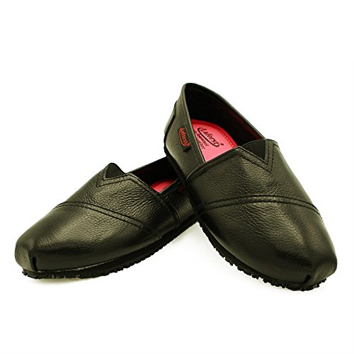 Laforst Womens Leather Slip Resistant Server Waitress Nurse Slip On Flat Black 7.5