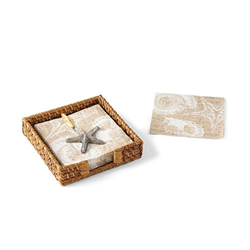 Rattan Napkin Holder (Mud Pie 4091011 Rattan Napkin Basket Set Sand Nautilus,)