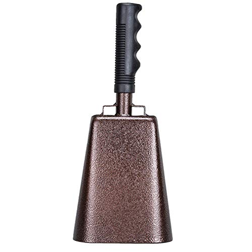 EONLION 9 Inch Steel Cowbell with Handle, Loud Musical Percussion Instrument Cheering Bell for Sports Games Events and Parties, Perfect School Bell Alert bell for Kids and Seniors