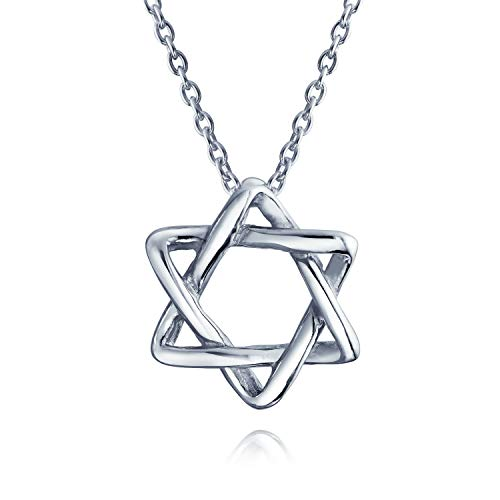 (Hanukkah Magen Jewish Intertwined Star Of David Pendant Necklace For Women For Teen 925 Sterling Silver)