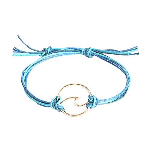 Chenway Elegant Women Bracelet Natural Sea Wave Handmade Wristband Cuff Wristlet Bangle Wrist Band Hand Chain for Girl Women Jewelry (A)