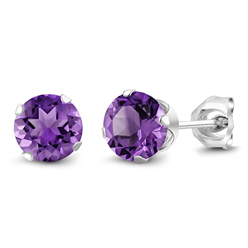 Purple Stone Amethyst (Sterling Silver Round Purple Amethyst Women's Stud Earrings 6mm 1.50 Carat Total Weight)