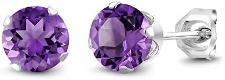 1.00 Ct Round 5mm Purple Amethyst Gemstone Birthstone 925 Sterling Silver Stud Women's Earrings