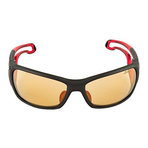 Julbo Pipeline Performance Sunglasses, Zebra Lens, Matt Black / Red (Zebra Anti Fog Photochromic Lens)