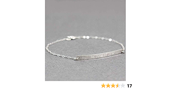 AnnbijouxNewYork Woman Personalized Coordinates Bracelet Laser Engraved Latitude and Longitude Charm Sterling Silver Message Jewelry Keepsake Gift For Mother