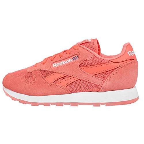 Reebok Women's CL Leather Ice, CORAL/WHITE, 6 US