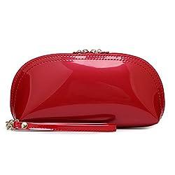 Myzin Women PU Patent Leather Long Clutch Purse Case Evening Wristlet Makeup Bag (Orange)