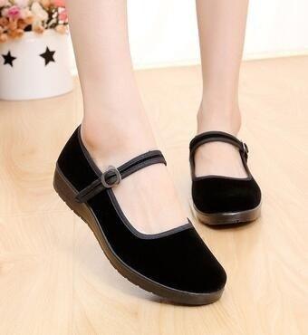 Ballerina Flats Shoes Cotton Black Sole Ethnic Shoes Women Lady Style Velvet Work p7WqwS