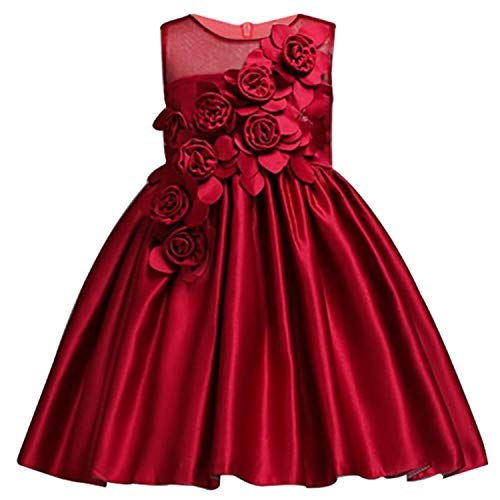 Girl Dress Party Birthday Wedding Princess Toddler Baby Girls Christmas Dresses,Wine red1,3T]()