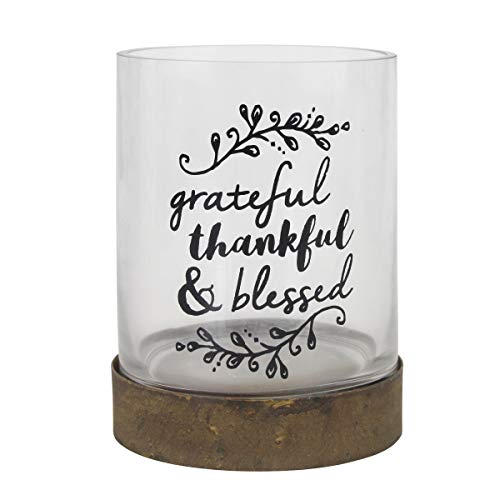 Stonebriar Hurricane Small Sentiment Pillar Candle Holder with Metal Base and Glass Cylinder, Frosted