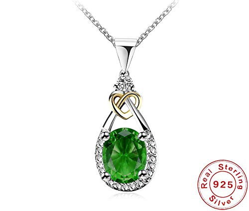 Nattaphol 925 Sterling-Silver -Jewelry Vintage Water Drop Green CZ Pendant & Necklace for Women Engagement Necklaces