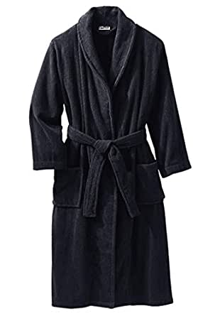 Kingsize Men's Big & Tall Terry Bathrobe With Pockets, Black Big-3Xl/4X