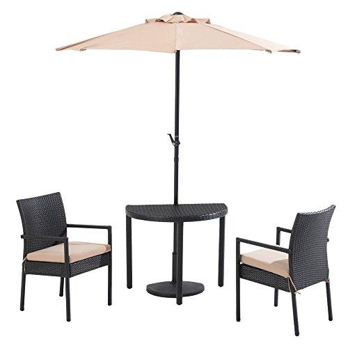 SunNest Sunjoy Half Round Rattan 4 Piece Umbrella Patio Bistro Set (Half Moon Rattan Furniture)